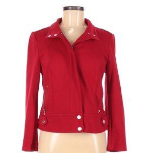 Cache women's jacket red zip up moto size 6 (3H79)